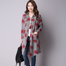 In the autumn of 2015 the new big yards long printing long-sleeved linen shirt in cotton and linen joker coat