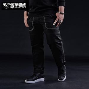 LSDZW/雷萨顿威潮牌大码男装加肥加大号纯色休闲裤黑色长裤男裤子