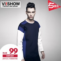 Viishow2015 spring men's sweater juvenile male round neck stitching zipper colour matching tracksuit tops