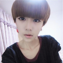 Fashionable mushroom head wig female hair lovely bobo neat bang short straight hair handsome personality vivid net