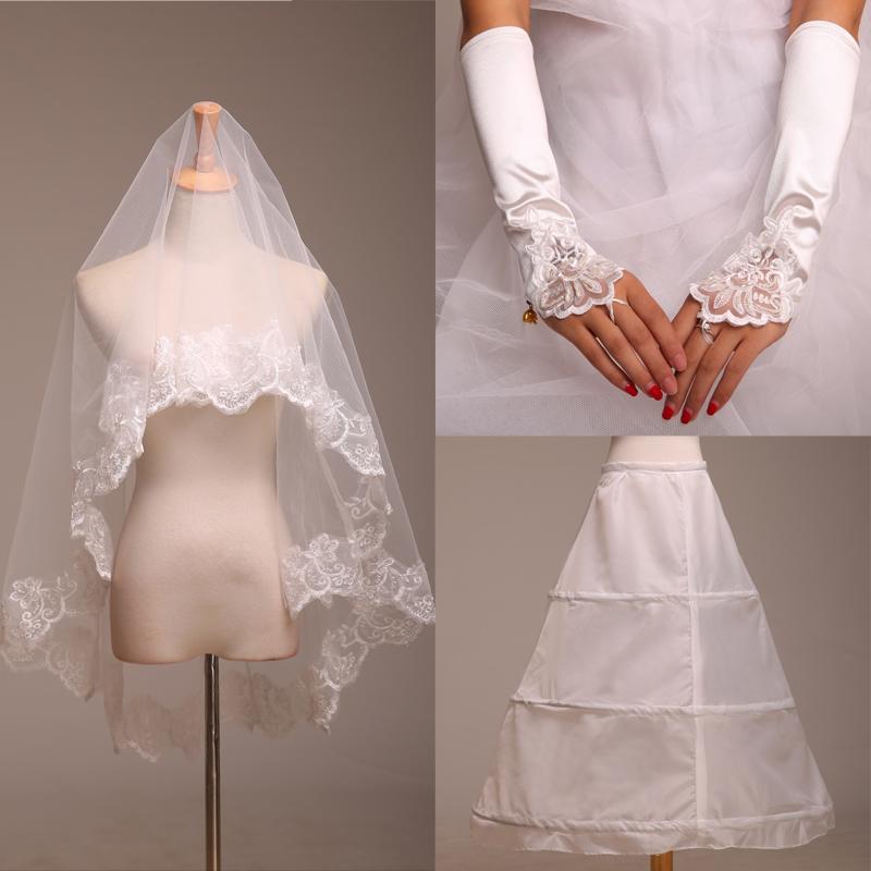Аксессуары для новых три кусок моды невесты Свадебные аксессуары Свадебные аксессуары перчатки, Фата юбка