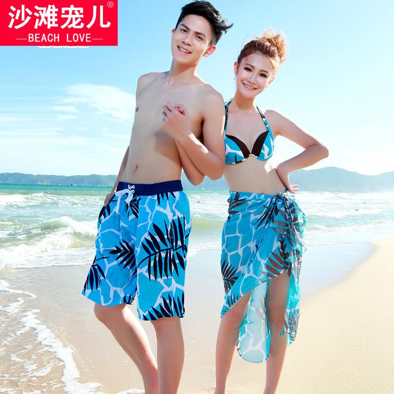 沙灘寵兒情侶泳衣大小胸聚攏鋼托保守情侶比基尼沙灘裝沙灘褲泳裝