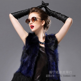 Women's autumn and winter sheepskin long section over the elbow length leather ladies leather long section Gloves Gloves Sheepskin Gloves