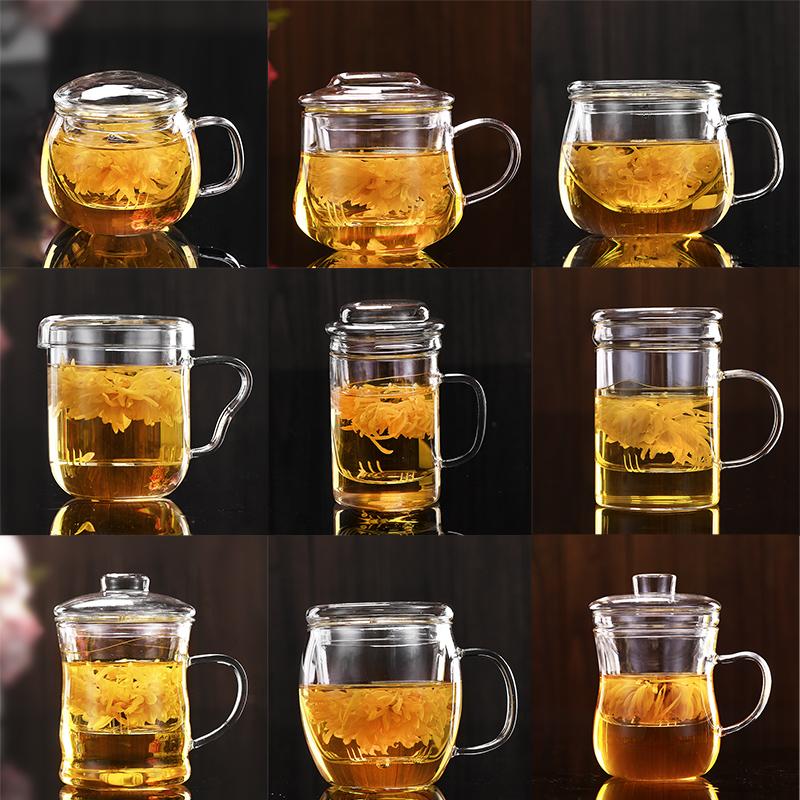 泡茶杯玻璃茶杯加厚耐高�厝�件杯花茶杯���w水杯�k公杯�^�V泡茶杯