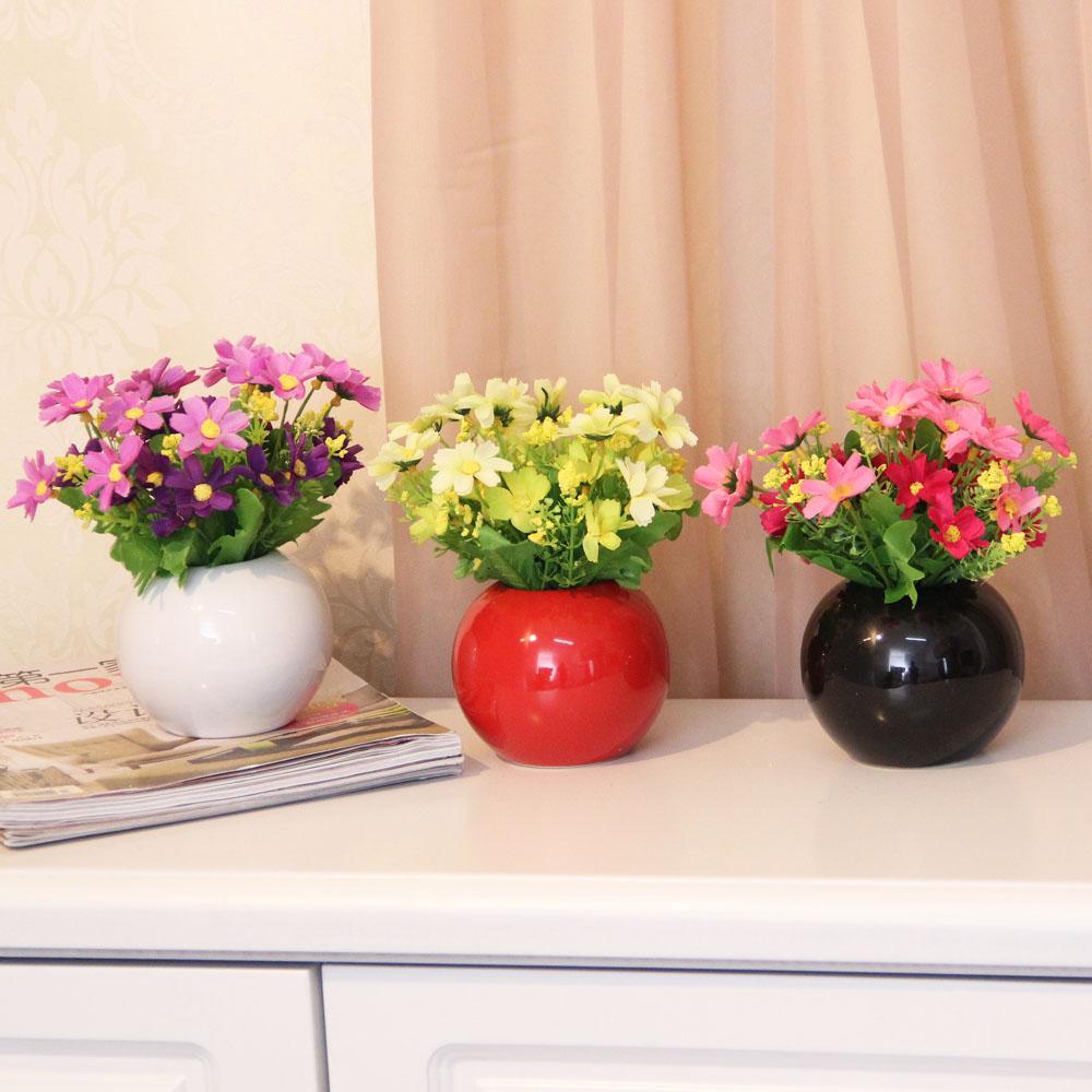 现代创意家居装饰品新房摆设工艺品摆件时尚陶瓷花瓶 圆球小花插