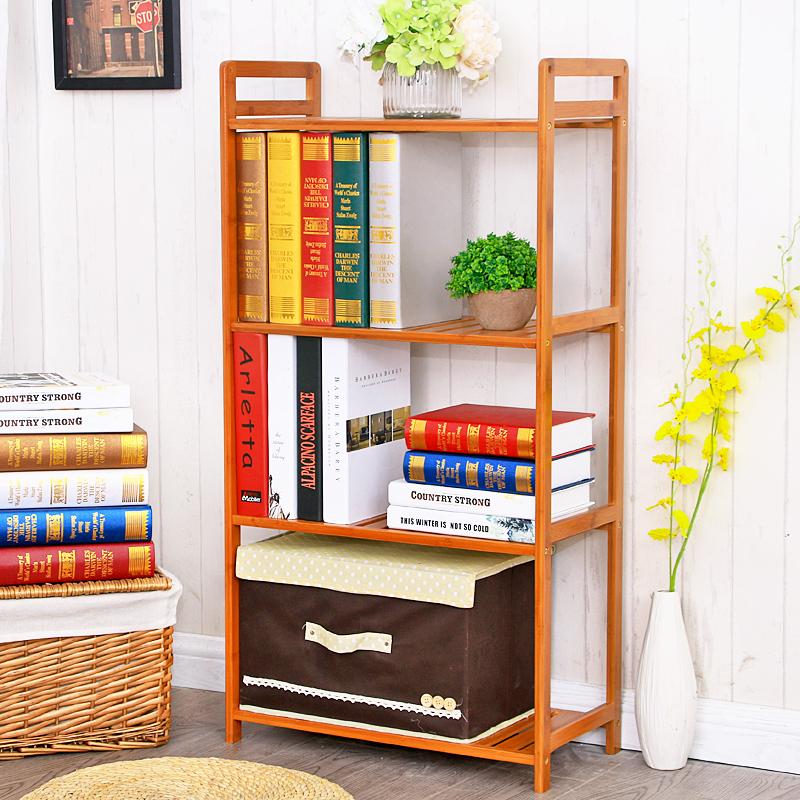 竹世界楠竹置物架落地客廳書架實木層架隔板廚房收納儲物架子簡易