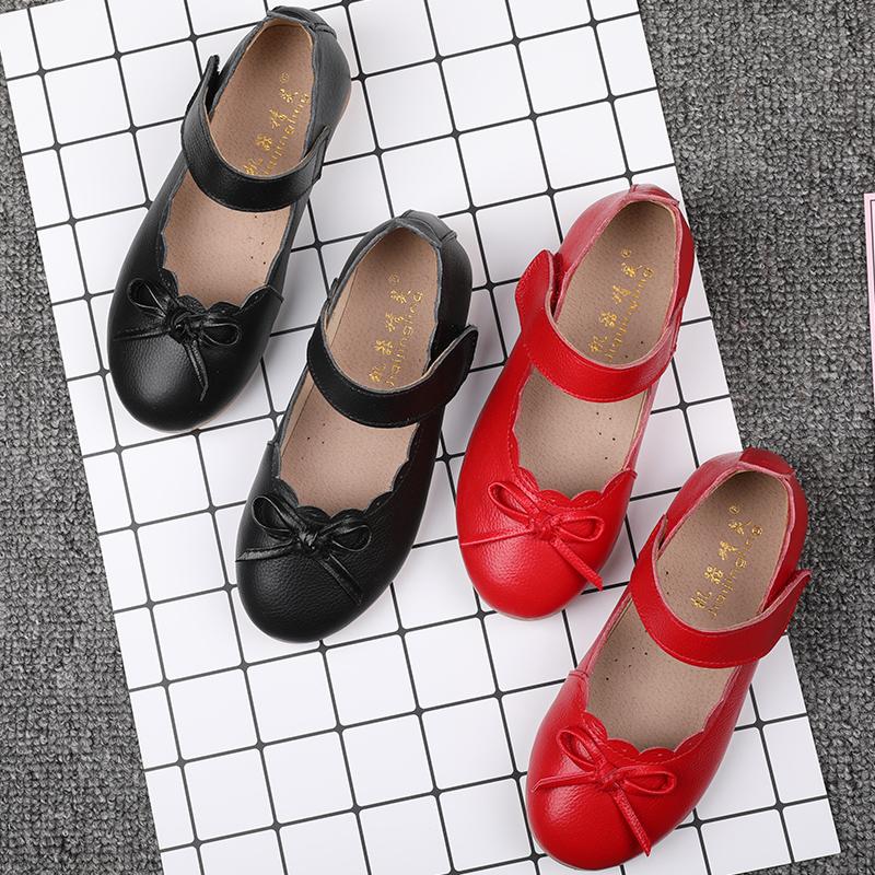 女童真皮皮鞋公主鞋单鞋2017春季新款中小童黑色皮鞋宝宝儿童鞋子