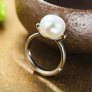 Thai woman ring 925 sterling silver natural Pearl Japanese and Korean female silver finger ring jewelry