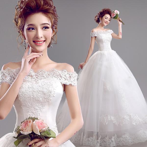 韩式新娘蕾丝一字肩修身绑带齐地公主婚纱礼服2015新款定制5956