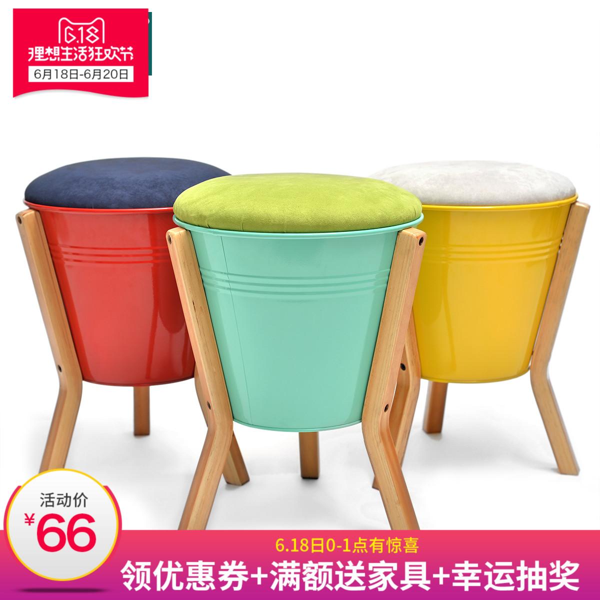 初木換鞋凳簡約 矮凳收納凳 小凳子儲物凳實木圓凳板凳