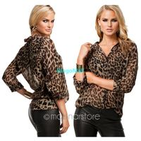 Summer Fashion Women Blouses Sexy Leopard Casual Chiffon B