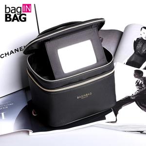 bag IN BAG韩国时尚化妆包 大镜子PU大容量化妆箱化妆品收纳包