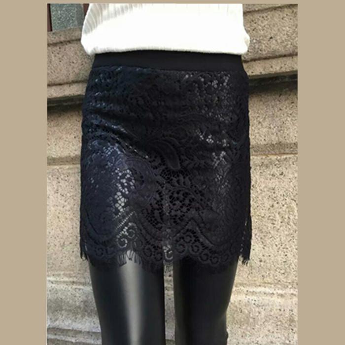 Factory direct sales, wear lace false two pieces of leather pants, slim and slim, plush leggings, skirt pants, womens pants