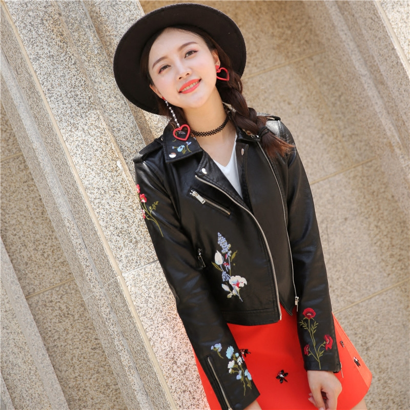 New European and American Motorcycle wear Lapel coat slim fitting candy leather jacket