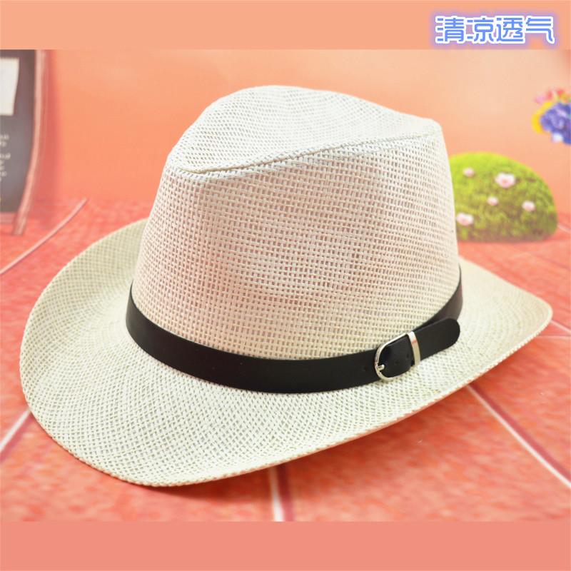 夏日透气男女草帽遮阳帽 西部牛仔帽爵士帽草编大沿防晒户外帽子