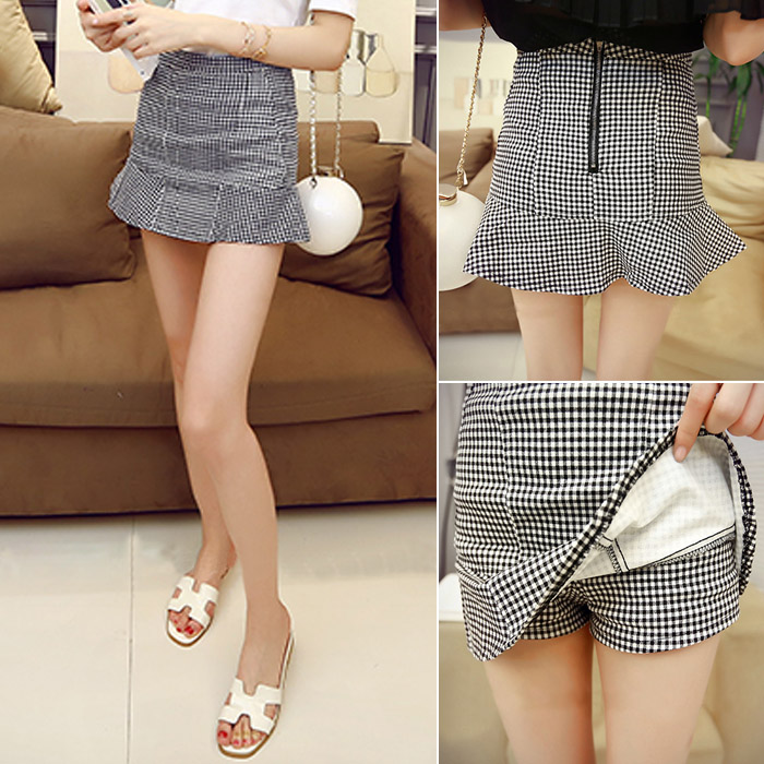 Summer 2018 new Ruffle slim high waist Plaid hip skirt Korean wrap skirt short skirt pants skirt skirt half skirt