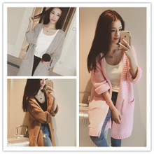 6 degrees in Europe and the fall 2015 South Korea the new multicolor double pocket long wool knitting cardigan female E8424