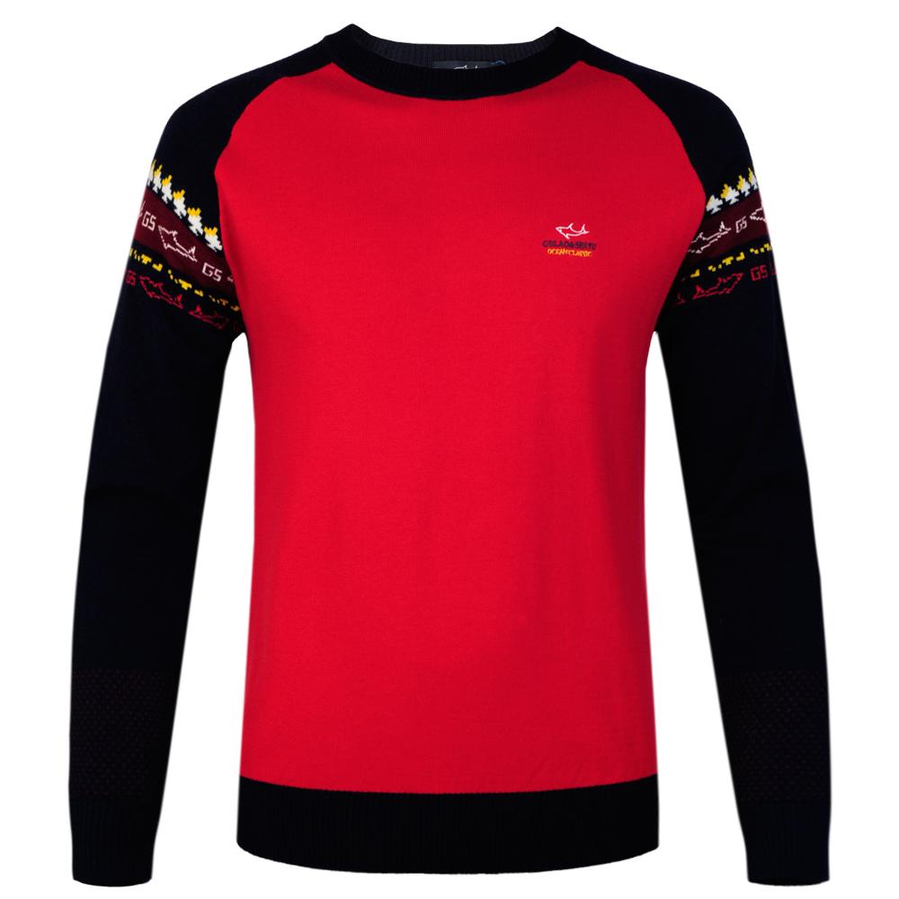 Древние акулы к 2015 году новых мужчин геометрической жаккард контраст реглан рукава вокруг шеи оборудованная чистая шерсть свитер