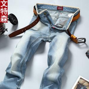 文特森时尚简约弹力牛仔裤青年春夏新款休闲长裤男士直筒修身潮男