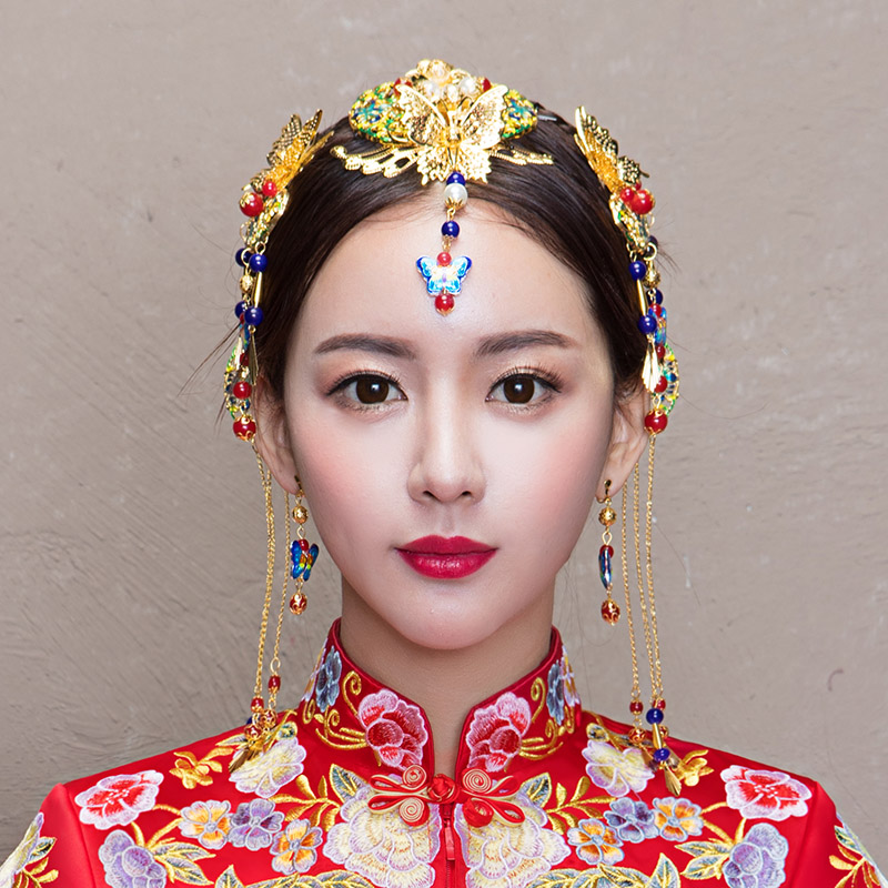 Невеста древний наряд головной убор финикс корона красивый зерна кимоно cheongsam аксессуары китайский стиль народ струиться гребень аксессуары выйти замуж платья аксессуары для волос