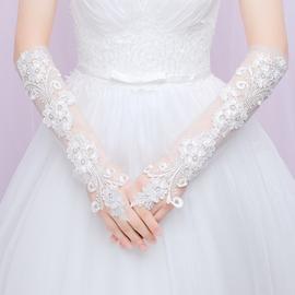 新款新娘婚纱蕾丝手套结婚露指手套白蕾丝中长款显瘦婚礼手套简约