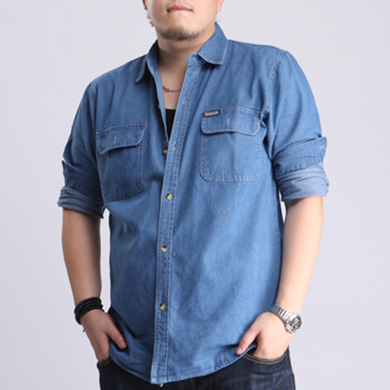 Spring and summer thin pure cotton denim long sleeve shirt coat casual middle-aged mens shirt loose and fat oversize