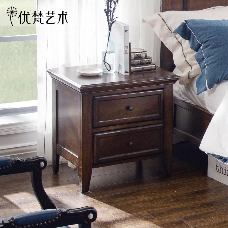 优梵艺术 Rhine美式乡村实木脚床头柜储物床头边柜简约卧室小柜子