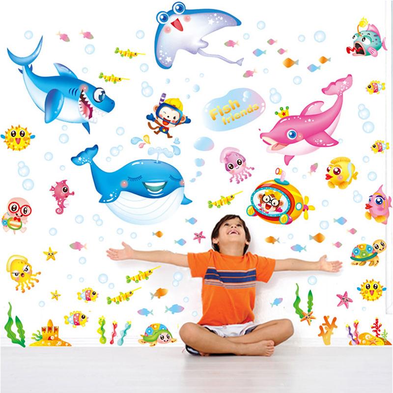 浴室兒童房間瓷磚可愛卡通海底海洋魚寶寶洗澡防水牆貼紙貼畫鯊魚
