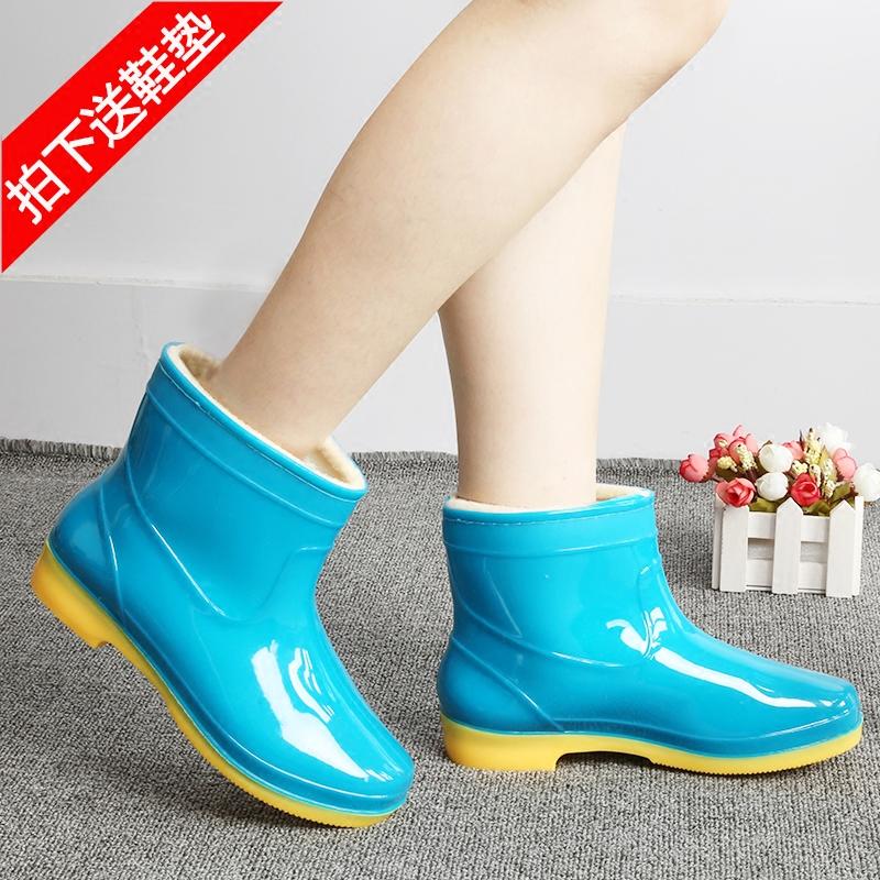 冬季加�q保暖成人雨鞋短筒女款水鞋防滑可拆加棉�N房防水雨靴套鞋