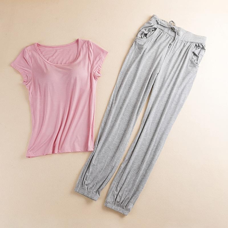 可外穿带胸垫睡衣女夏莫代尔薄短袖T恤休闲裤瑜伽文胸家居服套装