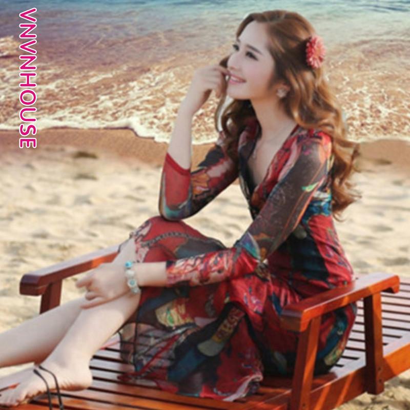 夏季宽松遮肚复古印花长袖真丝连衣裙两件套系带收腰桑蚕丝长裙女