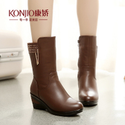 Kang Jiao new fall shoes for fall/winter boot wedges with the increase in cylinder head high school in casual winter boots side zipper