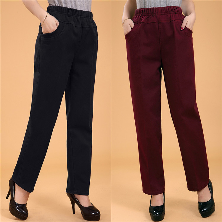 Пакет mail 15 лет нового среднего и старых пожилых женщин хлопка брюки случайных брюки стрейч упругой талии и жира увеличивает МАМА джинсы