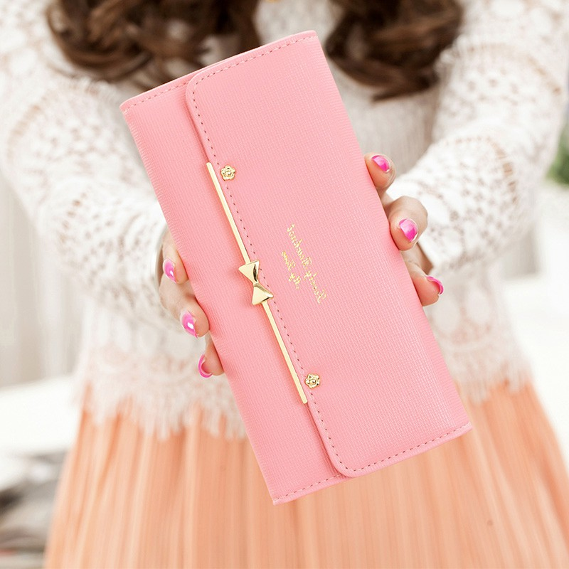 2017 new womens wallet Korean Version cute buckle three fold bow multi function large banknote clip cross