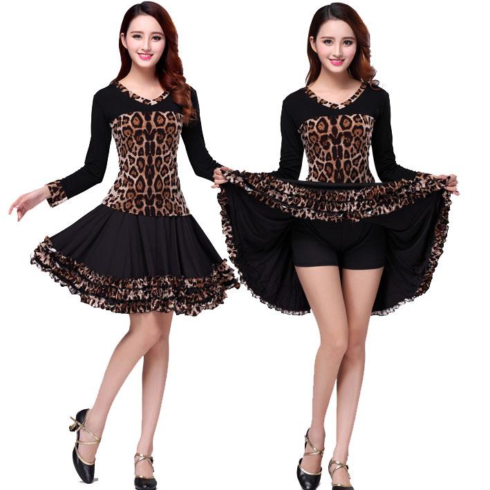 涪舞广场舞服装2019秋季新款牛奶丝莫代尔棉豹纹套裙子跳舞套装