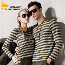 Elite tribe 2015 autumn outfit lovers long sleeve stripe T-shirt military men and women Leisure army green T-shirt