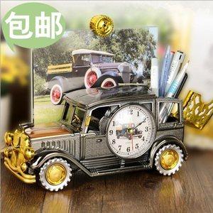 复古怀旧风老爷车模型塑料闹钟笔筒一体 创意礼品 家居装饰摆件
