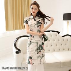 两色民族风立领旗袍连衣裙阔腿裤两件套150D296 星座女装8321