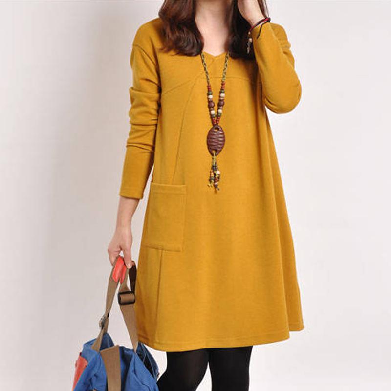 Женская плюс размер моды платье свободные длинные тонкие Pocket сшивание Джокер простой длинная юбка