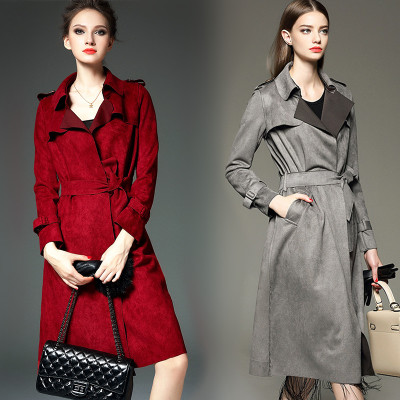 European fall 2015 new Europe and the United States in the pure color easy temperament with dust coat lapels long deer velvet coat