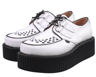 Japanese Japanese Harajuku Street beat retro pure white classic European and American punk rock rope wear platform shoes platform shoes
