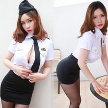 Sexy lingerie suit policewomen uniform temptation human tight OL high-grade package hip big yards short skirt nightclub sm