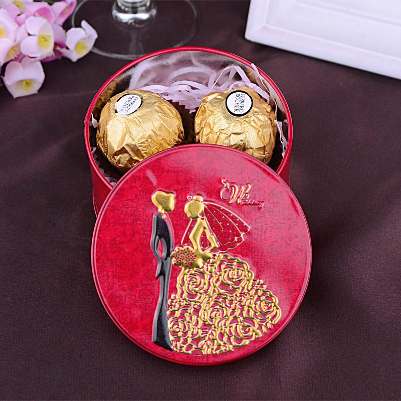 婚庆马口铁圆筒喜糖盒结婚成品喜糖含糖含2颗费列罗8德芙好时