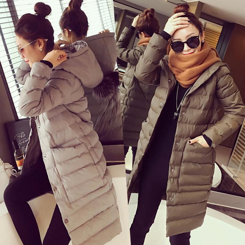 2015 года новых Корея Зимние покупки простой карман с капюшоном длинный плащ в тонкий женщина хлопка пальто
