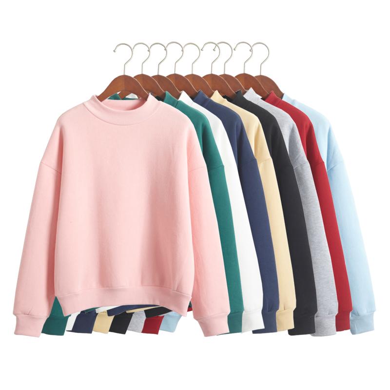 Южной Кореи твердых цвета и кашемир Вэй Yi женщин новых небольшим высоким воротником свободные толстый свитер для осень/зима бейсбол равномерное студент пальто