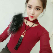 Cool na Korean fashion leather fringed long necklace sweater chain fashion pendant jewelry necklace 4051