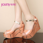 Zhuo Shini summer new style elegant leather buckle belts open toe high heel platform wedge Sandals 142438430