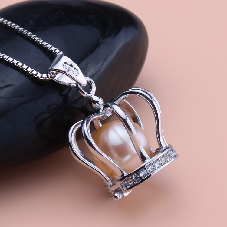 Seiko No. 925 silver accessories wholesale silver half crown pearl cage DIY amber beeswax Crystal Necklace Pendant