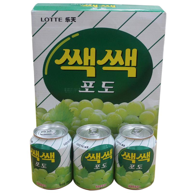 ~天貓超市~韓國 飲料 樂天 葡萄汁 果肉飲料 238ml^~12聽