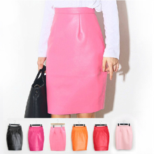 Europe and the pure color high leather skirt zipper pockets hip skirt step bust skirt skirt cultivate one's morality short skirt qiu dong outfit PU leather skirt